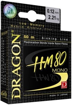 Dragon Monofile Schnur HM80 Pro 50m - 0.102mm - 1.72kg - LightGreen