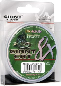 Dragon Plecionka Giant Cat 8X Leader  25m - 80 lb - Ciemnozielona