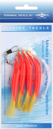 Mikado Zestaw Morski - Hair Tube Rig - Hak 1/0 (Red/Yellow)